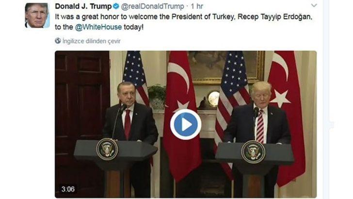 Trump, Twitter'dan paylaştı: Erdoğan'ı ağırlamak büyük şerefti