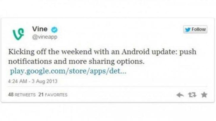 Vine'ın android uygulaması güncellendi