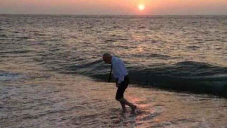 Haberal elbiseleriyle denizde