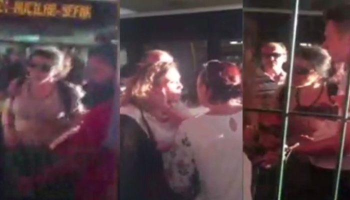 Metrobüs durağında kavga eden kadınları zor ayırdılar