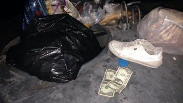 Çöp konteynerindan 1 dolarlar çıktı