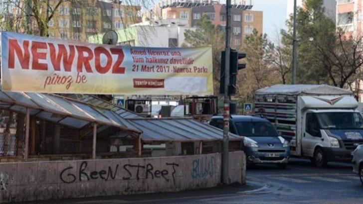Diyarbakır'da nevruz pankart ve afişlerine 'bantlı' DTK ayarı