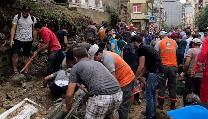 İstanbul'da etkili yağış facia getirdi! Şişli'de mezarlık duvarı çöktü