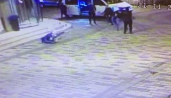 'Palalı saldırgan' vurulduğu an güvenlik kamerasında
