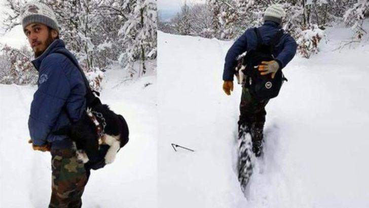 Köpeği rahatsızlanınca 7 kilometre sırtında taşıdı