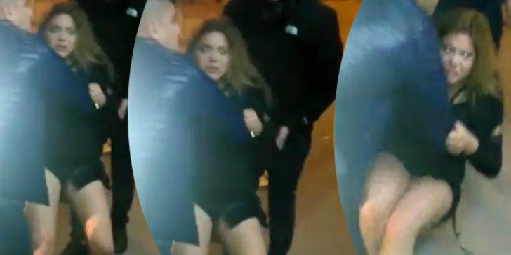Ünlü oyuncu Feyza Civelek polisi ısırdı! Olay anı görüntüsü ilk kez Mynet'te
