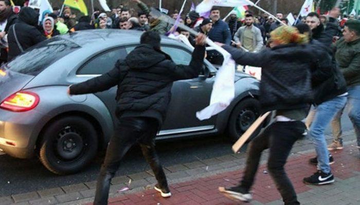 PYD/PKK yandaşları Almanya'da bir Türk vatandaşının aracına saldırdı