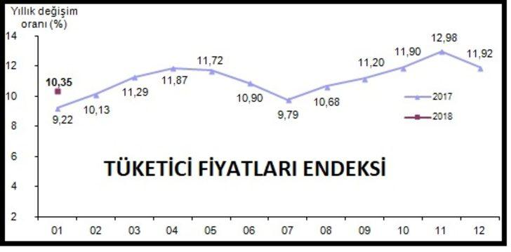 Tüketici fiyatları Ocak'ta yüzde 1.02 arttı; yıllık enflasyon yüzde 10.35 (2)