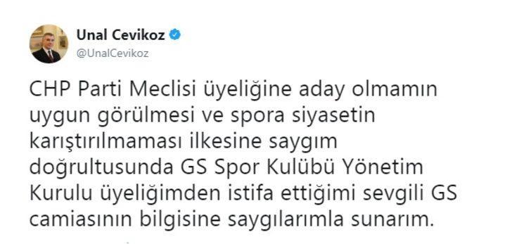 Galatasaray'da Ünal Çeviköz istifa etti