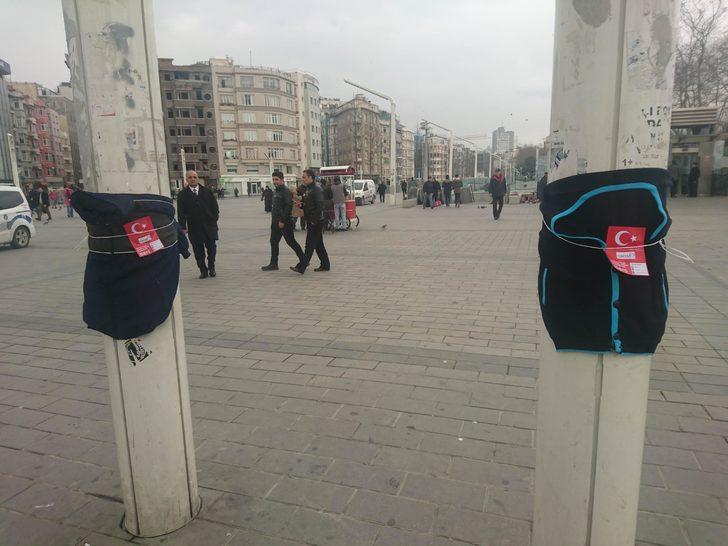 """Taksim Meydanı'nda """"askıda kıyafet"""""""