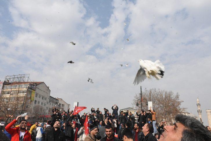 Malatya'da, 'Zeytin Dalı Harekatı' için bin güvercin doğaya bırakıldı