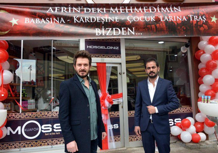 Afrin'deki Mehmetçiğin yakınlarına ücretsiz tıraş