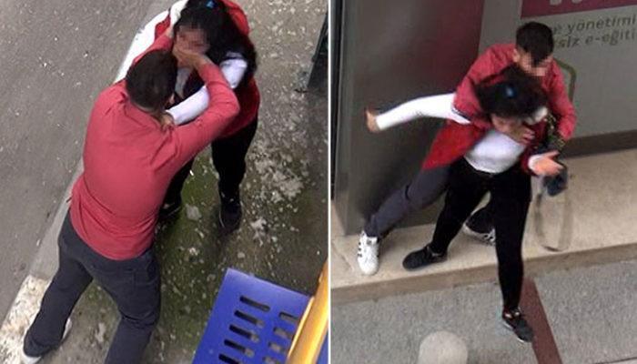 Genç kıza sokak ortasında feci dayak