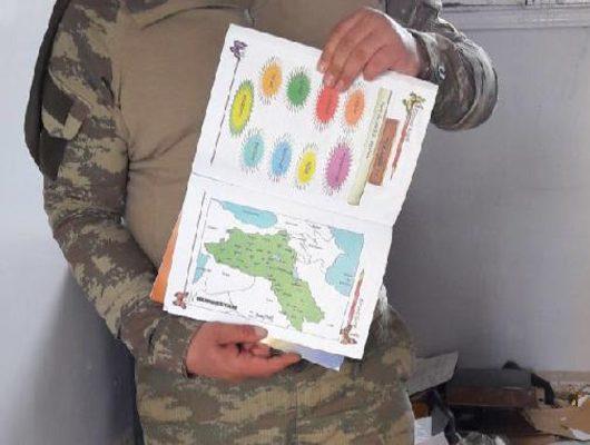 İlkokulda ele geçirildi! Öcalan arması, ders kitaplarında 'sözde' Kürdistan haritası
