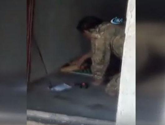 ÖSO askerinin imha etmeye çalıştığı patlayıcı böyle infilak etti