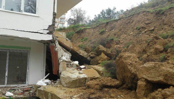 İstinat duvarı apartmanın üzerine çöktü