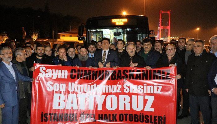 Özel Halk Otobüsü İşletmecilerinden 15 Temmuz Şehitler Köprüsü Çıkışında Eylem yaptı