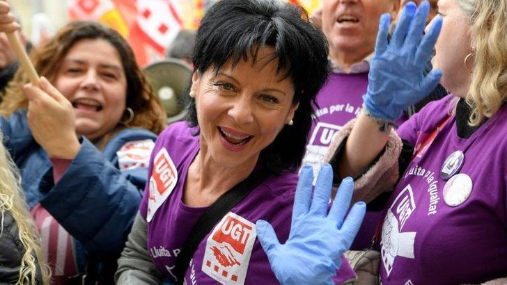 8 Mart Dünya Kadınlar Günü: İspanya'da kadınlar grevde