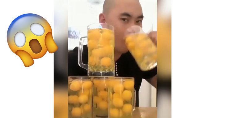 Bir oturuşta 5 litre çiğ yumurtayı ara vermeden böyle içti!