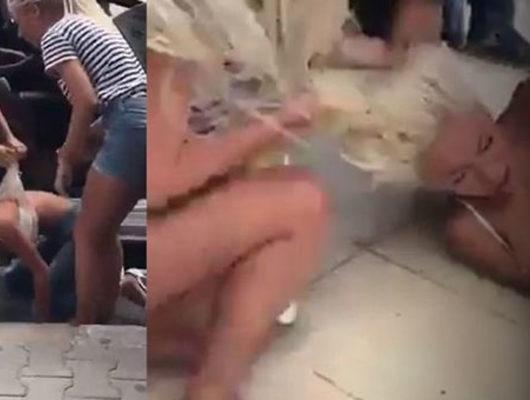İnanılmaz görüntüler: Sevgilisiyle beraber olan kadını tekme tokat dövdü!