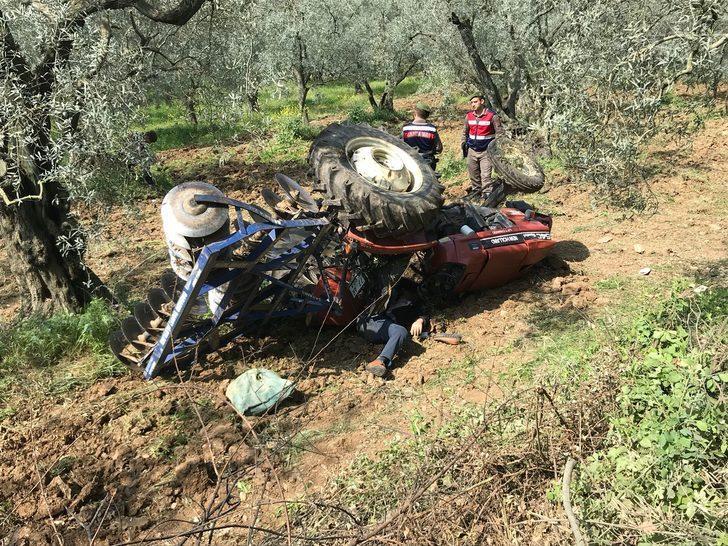 Zeytinliğe uçan traktörün altında kalarak öldü