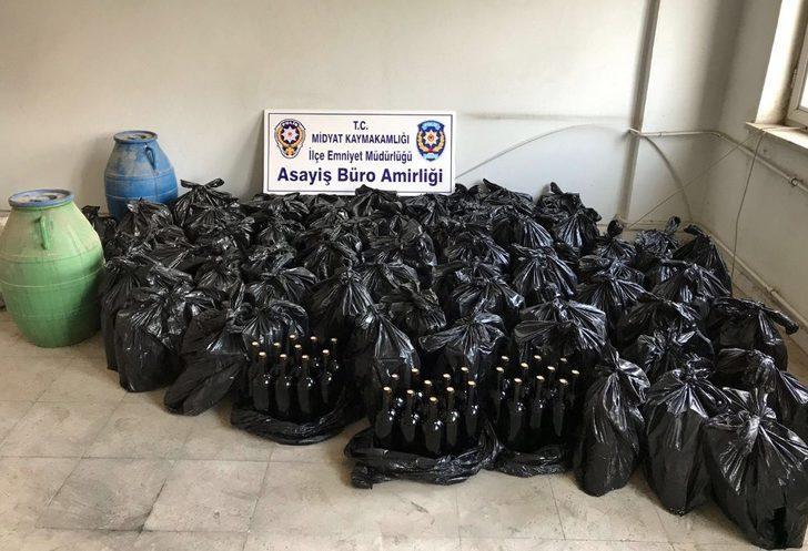 Midyat'ta 800 şişe kaçak şarap ele geçirildi