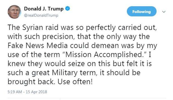 """Trump: Medya """"Görev tamamlandı"""" sözümü çarpıtıyor"""