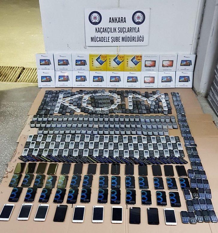 Başkent'te 1,5 milyon liralık kaçak cep telefonu ele geçirildi