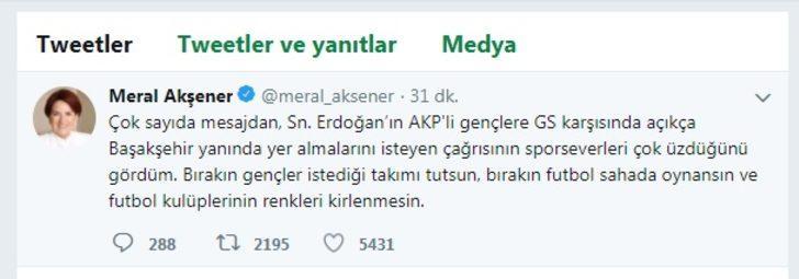 Akşener'den Erdoğan'a taraftar eleştirisi