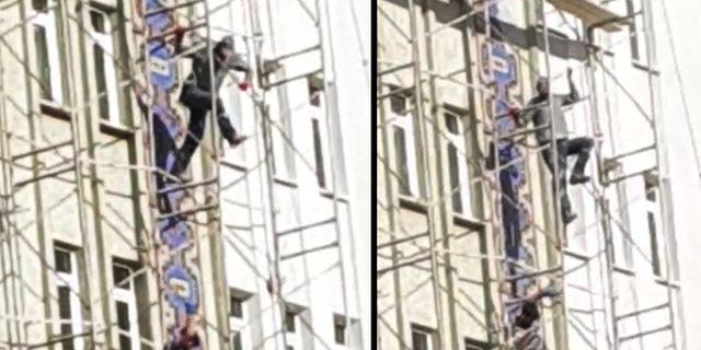 İnşaat işçilerinin tehlikeli inişleri kamerada