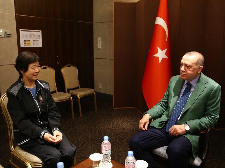 Cumhurbaşkanı Erdoğan, Güney Kore'de Ayla filminin kahramanı Eunja Kim'i kabul etti