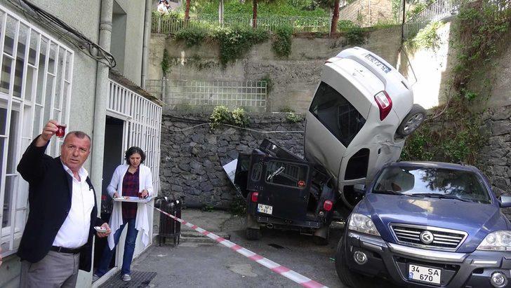 Beşiktaş'ta  görenleri şaşkına çeviren kaza