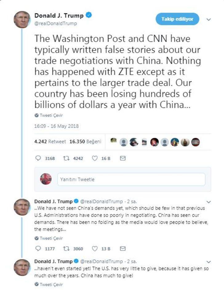 Trump: Çin taleplerimizi gördü ve bir şeyler verme sırası onlarda