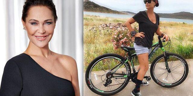Hülya Avşar bisikletle form tutuyor!