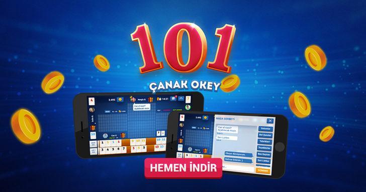 Popüler 101 Okey oyunu 101 Çanak Okey, Android ve iPhone'da