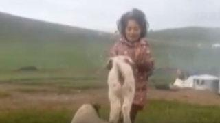 Minik kız söyledi, kuzu dans etti