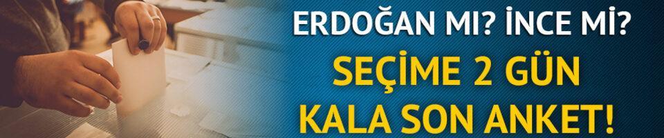 Erdoğan mı? İnce mi? Seçime 2 gün kala son anket sonuçları