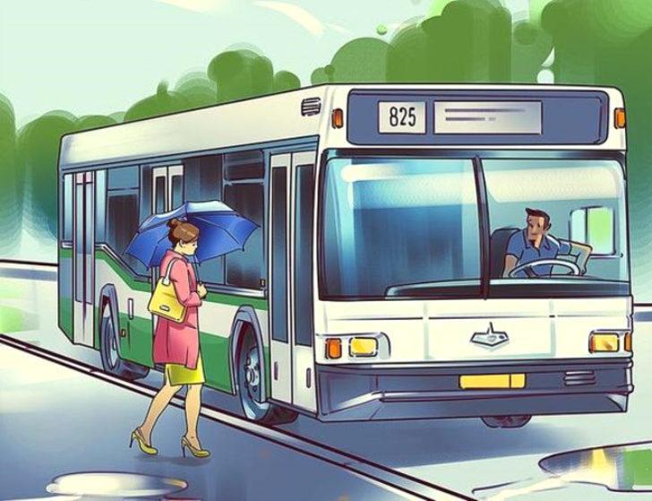 Bu resim diğerlerinden farklı. Otobüs durağı temalı görselde 2 hata birden var.