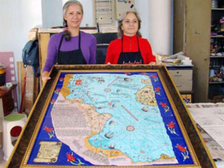 Piri Reis'in haritasını çiniye işlediler