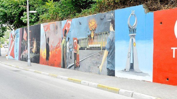 """Beykoz'da duvarlara """"15 Temmuz"""" resimleri çizildi"""
