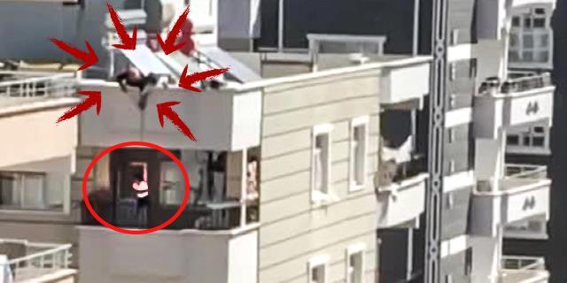 Anahtarı evde unutunca çocuğunu çatıdan balkona sarkıttı... O anlar kamerada
