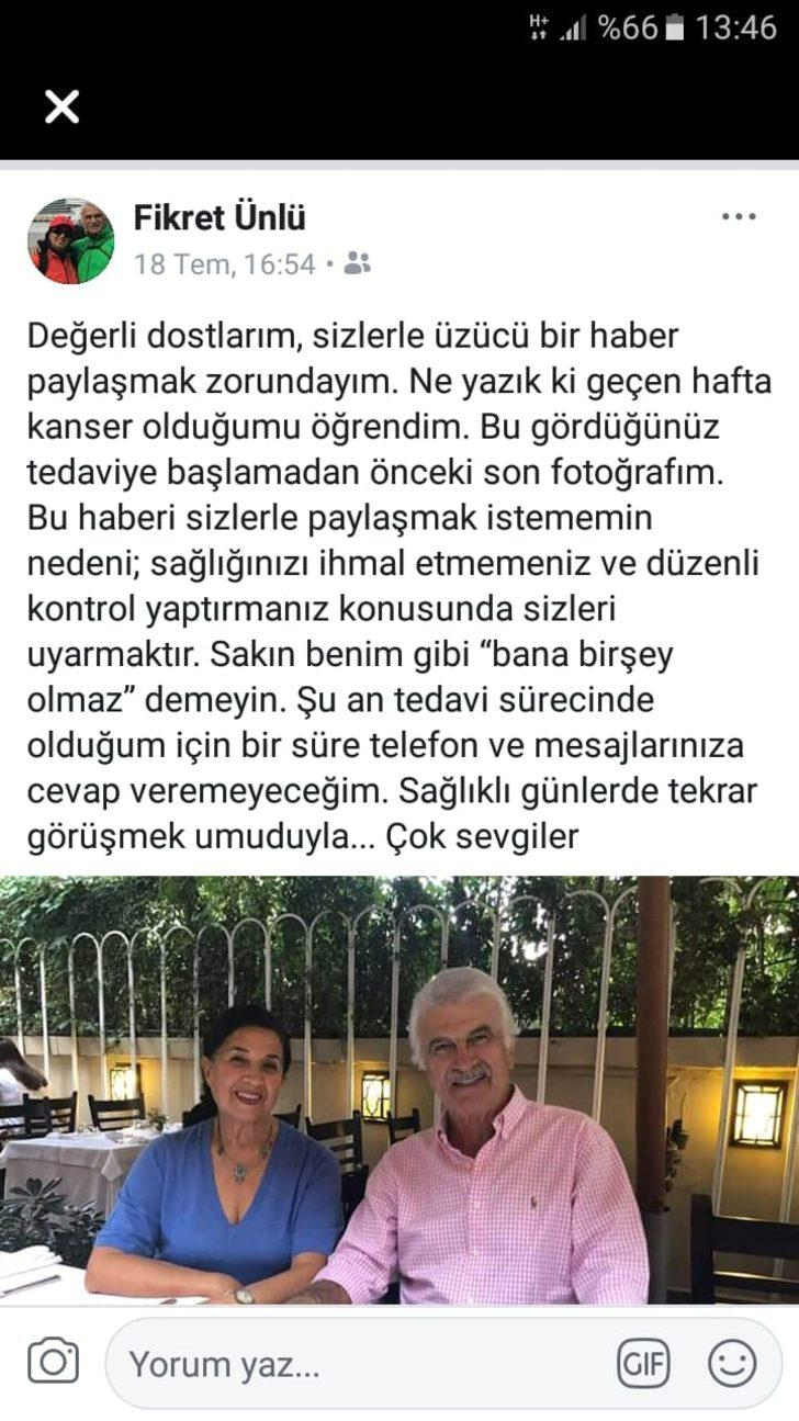 Devlet eski Bakanı Fikret Ünlü'den üzücü haber