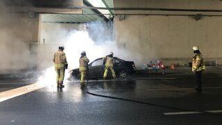 D-100'de araç yangını! Trafik durdu
