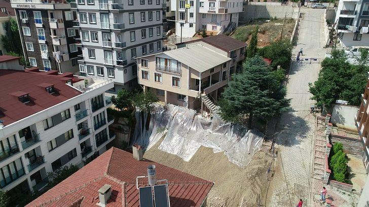 havadan fotoğraflar// Sancaktepe'de toprak kaymasının yaşandığı binada son durum
