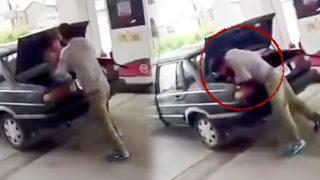 Karısını arabanın bagajına kilitledi!