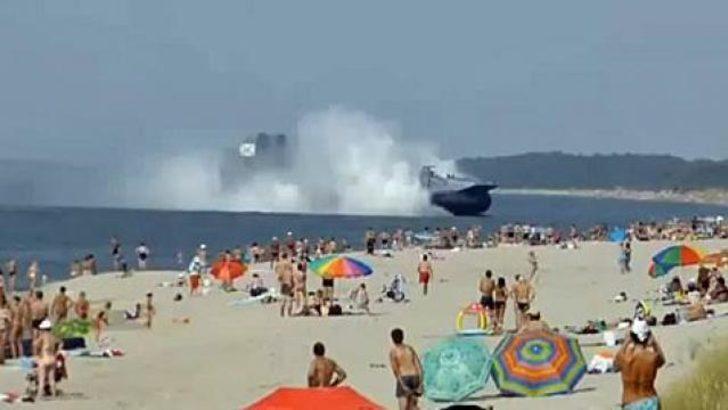 Hovercraft plaja böyle daldı
