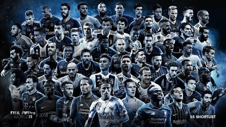 FIFA ve FIFPro, yılın 11'i için 55 kişilik aday listeyi açıkladı