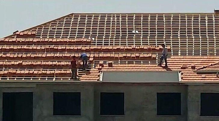 İnşaat İşçilerinin Önlemsiz Çalışması Yürekleri Ağza Getirdi