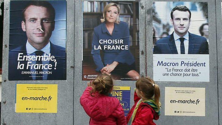 'Macron- Le Pen'le Dirsek Dirseğe'