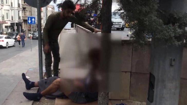 İstanbul'un göbeğinde akılalmaz olay: Bonzai hazırlarken görüntülendi kameraya saldırdı